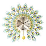 New DIY 3D Metal Peacock Wall Clock Crystal Diamond Clocks Watch Ornaments Home Living Room Hotel Decor Crafts Gift Large 70x70cm