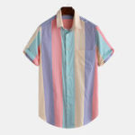 New Men Colorful Stripe Button Down Short Sleeve Shirts