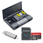 New Kawau Large Capacity Card Box + Type-c USB 3.0 Micro USB Card Reader + Eject Pin Key + StickDrive 32GB Memory Card With Card Adapter