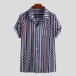 New Men Ethnic Pattern Print Short Sleeve Relaxed Hawaiian Shirt