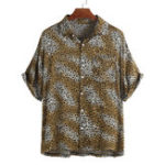 New Mens Leopard Printed Summer Short Sleeve Comfy Loose Shirts