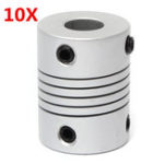 New 10pcs 5mm x 8mm Aluminum Flexible Shaft Coupling OD19mm x L25mm CNC Stepper Motor Coupler Connector
