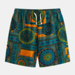 New Mens Ethnic Pattern Printed Breathable Summer Casual Shorts