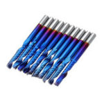 New Drillpro 10pcs 3.175 Shank Blue Coated Single Flute End Mill Tungsten Carbide Spiral CNC Milling Cutter 2/2.5/3.175mm