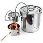 New 2/3/5/8 Gallons  Moonshine Still Spirits Kit Water Alcohol Distiller Copper Tube Boiler Home Brewing Kit with Thumper Keg Stainless Steel