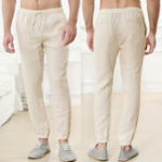 New Mens Summer Casual Comfy Elastic Waist Plain Pants