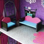 New Purple Villa DIY Wood Big Doll House Dream Light Miniature Furniture Kits Big Kid Gift