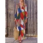 New Bohemian Geometric Print Long Dress