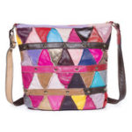 New Women Vintage Triangle Patchwork Genuine Leather Bag