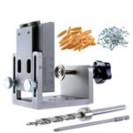 New Aluminum Alloy 9mm Pocket Hole Jig Set Dowel Drilling Hole Kit Carpentry Punch Locator Woodworking Drill Guide Tool
