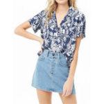 New Women Casual Floral Print V-Neck Short Sleeved Chiffon Shirt