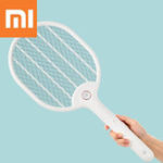 New Xiaomi Jordan&judy 3000V Electric Mosquito Swatter Three-layer Anti-electric Shock Net USB Charging Mosquito Dispeller Portable Camping Travel With Base Bracket