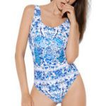 New One-Piece Printed Backless Swimwear