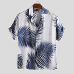 New Mens Palm Leaf Printed Summer Casual Vacation Hawaiian Shirt