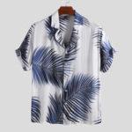 New Mens Palm Leaf Printed Summer Casual Vacation Hawaiian Shirt