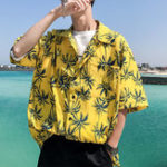 New Mens Summer Holiday Loose Palm Tree Printing Hawaiian Shirts