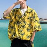 New Mens Summer Holiday Loose Palm Tree Printing Hawaiian Shirts