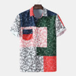 New Mens Fashion Vintage Cashew Flower Printed Patchwork Shirts