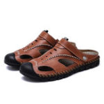 New Casual Soft Hand Stitching  Leather Sandals