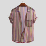 New Men Summer Breathable Striped Printed Lightweight Shirts