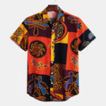 New Mens Patchwork Pattern Ethnic Hawaiian Floral Printed Shirts