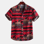 New Mens Pattern Printing Short Sleeve Linen Shirts
