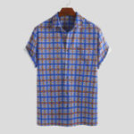 New Mens Summer Orderly Plaid Pringting Short Sleeve Shirts