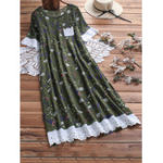 New Women Casual Print Lace Patchwork Short Sleeve Dress