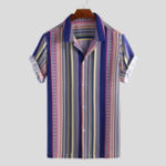 New Men Ethnic Stripe Print Short Sleeve Relaxed Hawaiian Shirts