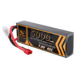 New ZOP Power 7.4V 5000mAh 45C 2S Lipo Battery T Plug for RC Car