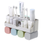 New Toothbrush Holder Set Storage Suplies Save Space No Drill Wall Mount Toothpaste Dispenser Multi-Functional Slots Bathroom Strong Traceless Hander