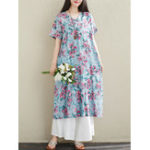 New Vintage Women Cotton Print Short Sleeve Dress