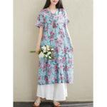 New Vintage Women Cotton Print Short Sleeve Dress
