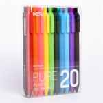 New KACO PURE 20Pcs/lot Candy Color Gel Pens 0.5mm Multicolor Gel Ink Pens Press Type Writing Pen Stationery Office School Supplies