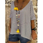 New Stripe V-neck Batwing Sleeve Women Casual Loose T-shirts