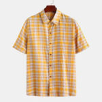 New Mens Summer Breathable Short Sleeve Cotton Plaid Shirts