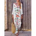 New Women Bohemian V-neck Floral Print Long Sleeve Maxi Dress