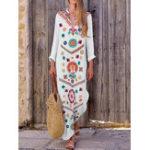 New Women Bohemian V-neck Floral Print Long Sleeve Maxi Dress