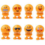 New 7cm Emoji Spring Shank Head Doll Cute Stress Relief Toy Key Buckle Gift Car Decor