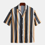 New Mens Stripe Loose Comfy Buttons Fly Shirts