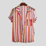 New Mens Colorful Striped Printed Summer Loose Lightweight Shirt