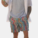 New Men Colorful Stripe Design Beach Quick Drying Board Shorts