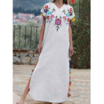 New Retro Women Ethnic Folk Style Short Sleeve V-Neck Dress