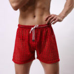 New Hollow Out Fishnet Pants See Through Mesh Breathable Shorts