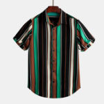 New Mens Colorful Symmery Stripe Shirts