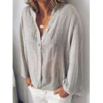New Cotton V Neck Solid Color Loose Casual Blouse