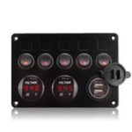 New  5 Gang ON-OFF Rocker Switch Panel Dual USB Charger LED Voltmeter 12-24V for Car Boat Marine RV Truck