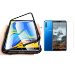 New Bakeey Magnetic Adsorption Aluminum Alloy Tempered Glass Protective Case + 2.5D Tempered Glass Screen Protector For Samsung Galaxy A7 2018