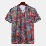 New Mens Summer Casual Ethnic Style Pattern Printed Shirts