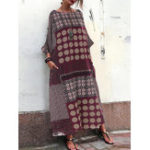 New Striped Crew Neck Pocket Loose Baggy Long Maxi Dress